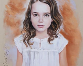 Long head and shoulders pastel portrait of a girl