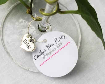 1 x Personlised Hen Party Name Tag with Silver Heart Charm- BRIDE BRIDESMAID- Hen Party Ideas