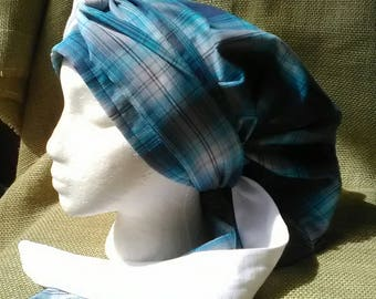 Pretty in Plaid Snood Scarf with Two Toned Extra Long Wrap Ties