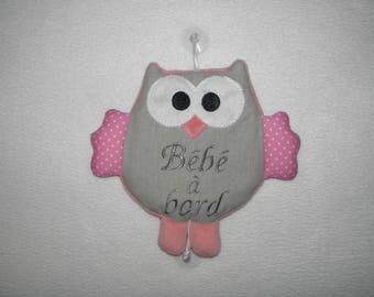 Baby on board, owl, owl, gray and pink baby girl plate for car gift