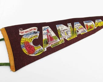 "Vintage 1940s 'Fort William, Ont. Canada'  Pennant - Wool Felt Pennant - Souvenir Pennant - Maroon and Multi-color - 19"" Long Pennant"