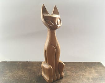 Wooden cat statue Vintage wood cat figurine Carved wood cat Tribal Home decor