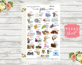 WH06 Celebrate June Planner Stickers - National Holiday Stickers - Special Days Stickers - Wacky Holiday Stickers - Holiday Planner Stickers