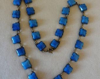 Beautiful ART DECO Faux LAPIS Choker Necklace-Silver over Brass