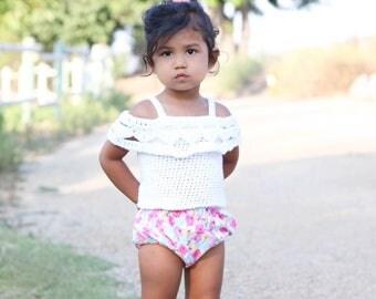 Crocheted lace tank top/ girls tank top/ tank top/ girl top/ white shirt/ lace top/