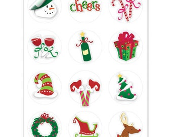 Holiday Toast Wine Glass Decals, 1 Inch Round Glass Tags, Glass Charms, Hostess Gift, Glass Not included, 12 Per Pack