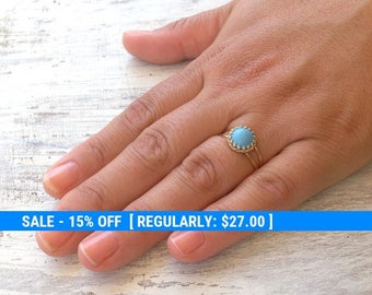 Turquoise ring, stacking ring, dainty ring, vintage ring, stack ring, stack gold ring, Blue ring, turquoise jewelry- RT1