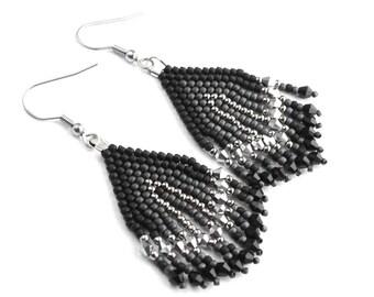 ethnic earrings, boho earrings, beaded earrings, native beaded, fringe earrings, tassel earrings, seed bead earrings, earrings native