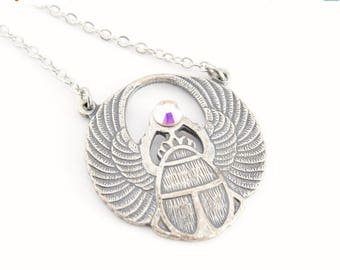 25% OFF SALE Egyptian Scarab Pendant, Scarab Necklace, Antiqued Silver Scarab, Trinity Brass Silver Ox