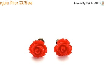 25% OFF SALE Tiny So Red Rose Earrings, Under 5 Dollars, Valentine's Red, Gift for Her