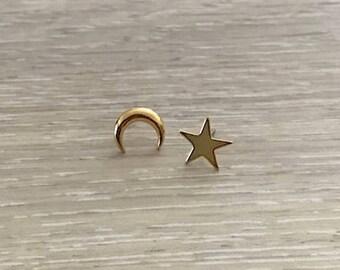 Star & Crescent Moon Earrings, Gold Earring, Dainty Earring, Gold Studs
