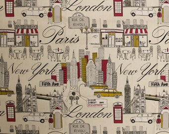 Cream Paris City Printed Pattern on 45'' Cotton Canvas Fabric by the Yard - 3225