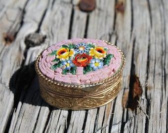 Vintage Italian Micro Mosaic Pill Box, Small Oval Mosaic Pill Box, Lidded Box,