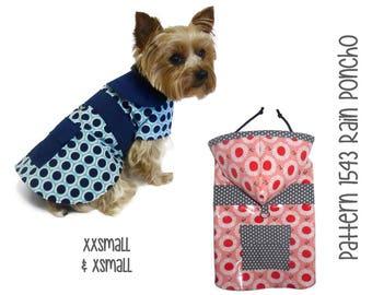 Dog Rain Coat Pattern 1543 * XXSmall & XSmall * Dog Clothes Sewing Pattern * Dog Coat Pattern * Dog Jacket * Little Dog Coat * Dog Raincoat