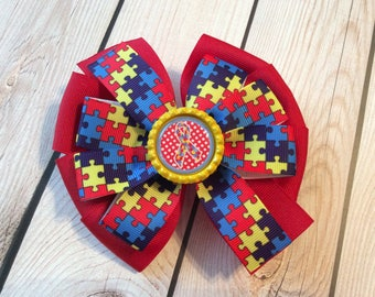 Autism Awareness Layered Pinwheel Hair Bow, Autism Awareness, Pinwheel Bow, Boutique Hair Accessories, Layered Bow, Hair Bow, Accessories