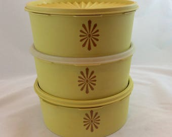 Vintage Yellow Tupperware Canisters,  Servalier Containers, Tupperware Yellow Canisters
