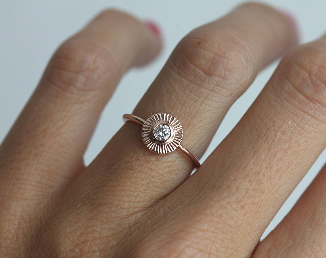 DIamond Sun Ring Diamond Ring Engagement Ring Circle Diamond Ring