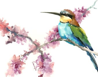 Birds and Flowers, Bee Eater, bird art, bird painting, bird wall art, watercolor birds, bee eater art, european bird, birds of europe