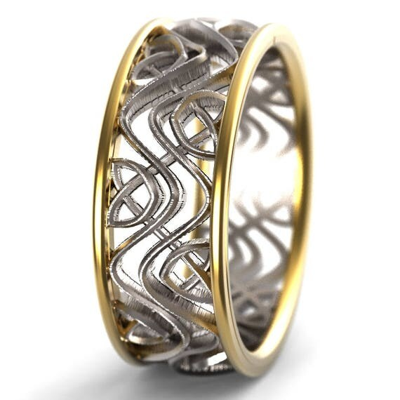 Celtic Bi-Metal Gold Wedding Ring With Celtic Dara Interwoven Knotwork Design in 14K Gold, Made in Your Size CR-642