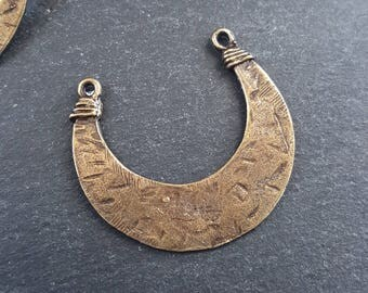 Tribal Crescent Pendant Connector Antique Bronze Plated Turkish Jewelry Making Supplies Findings Components - 1PC