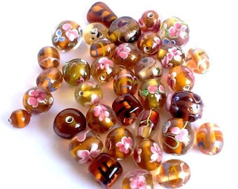 Set of 30, Brown and pink Lampwork Glass Beads