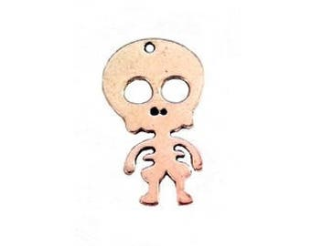 2 silver-plated 39x23mm skeleton charm