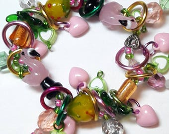 Flamingo bracelet/Beadiebracelet