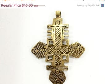 Weekly Sale Extra Large Brass Ethiopian Cross Pendant  4 Inch approx - TP107C