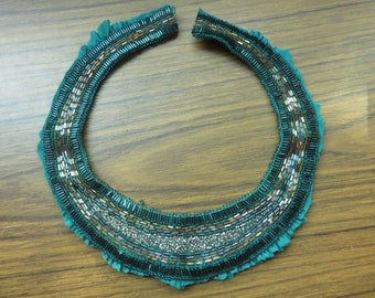 Vintage Turquoise Beaded Collar for Dress Part