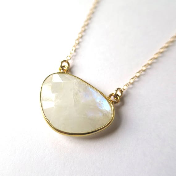 Inverted Triangle Moonstone Necklace