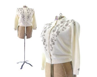 Cardigan 1950s Sweater Beaded Cardigan 50s Sweater White Cardigan Vintage Sweater Womens Clothing, 1950s Vintage Clothing Womens Large