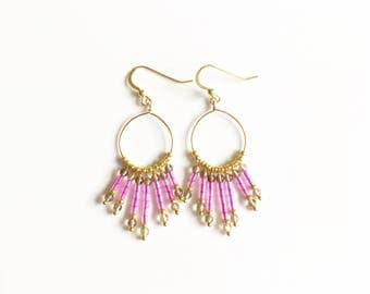 Coraline Beaded Waterfall Gold Earrings //gifts for women //gold earrings //gold jewellery //drop earrings //smokey quartz //pink earrings