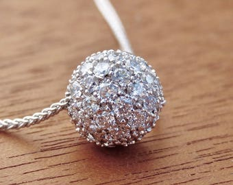 Pave Diamonds Ball Pendant 18k White Gold