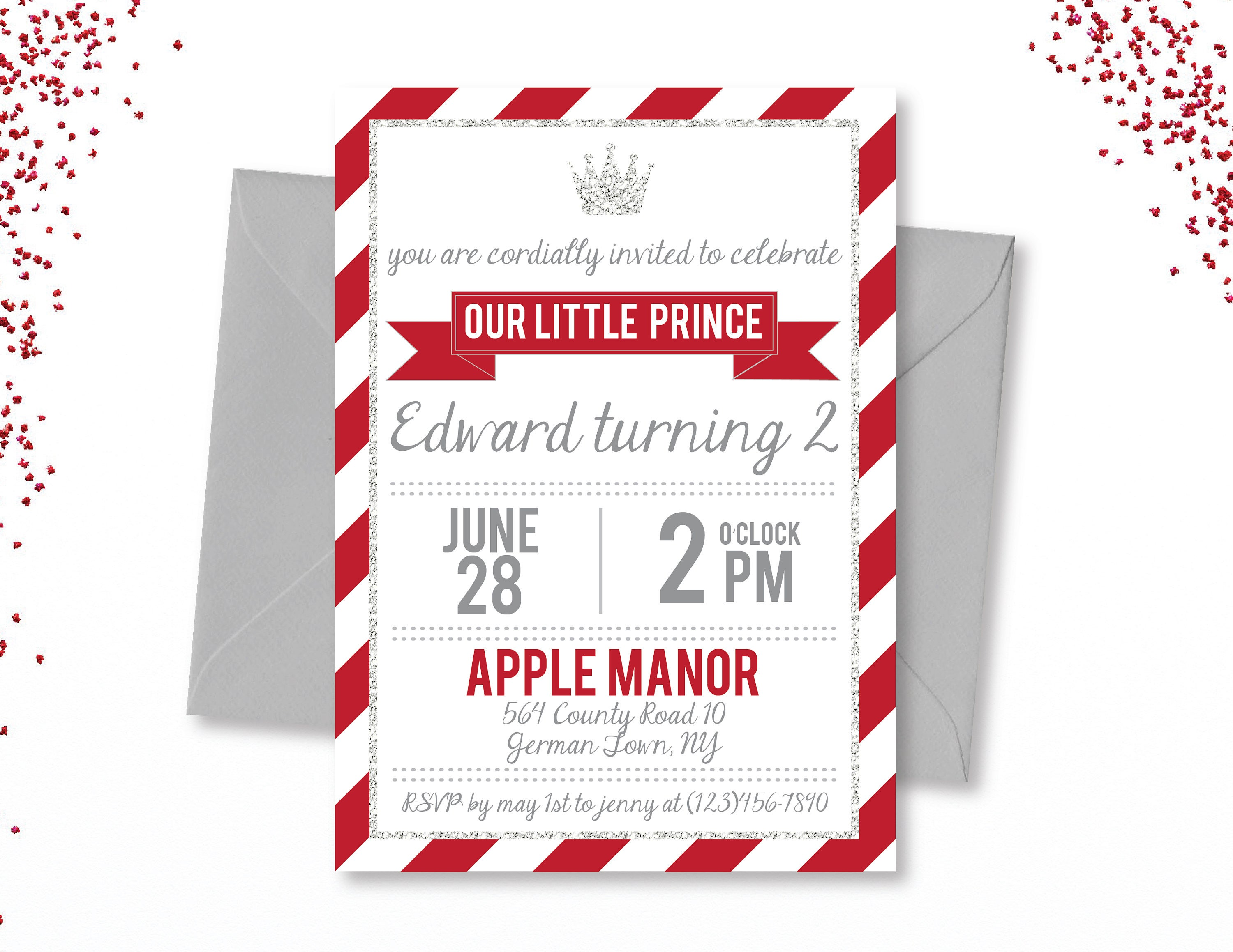 Red Prince Birthday, Our Little Prince, Red and Silver Prince Invite ...