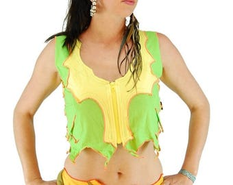 ON SALE Pixie crop top, tapered fairy tank, alternative wear, cyber futuristic pixie top, festival trance wear, psy trance clothes, yellow a