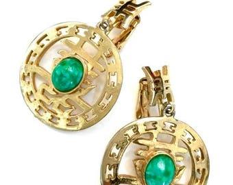 """Asian Motif Dangle Earrings, Mottled Green """"Peking"""" Glass Cabochons, Textured Gold Tone Open Work, Clip On Earrings"""