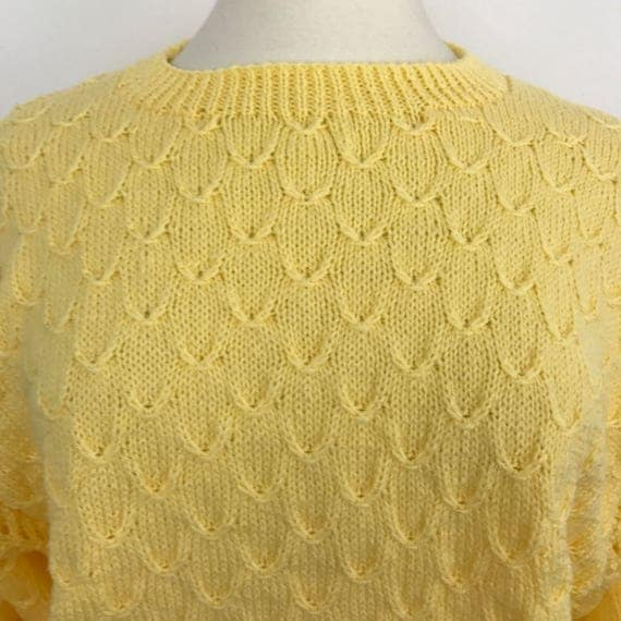 Vintage handknit jumper butter yellow fishscale style stitch sweater oversized knit festival boho UK 14 16 mermaid sunshine chunky knit