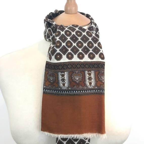Vintage gents scarf square geometric fine wool silk gentlemans cravat menswear scarf brown cream long oblong Mod neckerchief hugh hefner