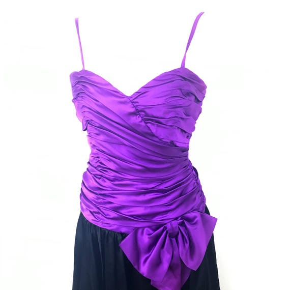 Vintage evening dress purple satin party dress boned burlesque pin up red carpet style UK 10 black puffball ruched gown 50s style glamour