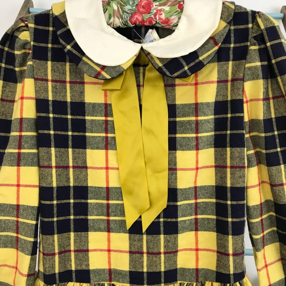 Vintage girls 40s 50s style tartan dress smocked brushed cotton red 10 12 year old childrenswear classic christmas yellow plaid petite 4 6