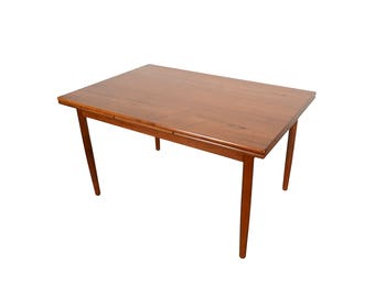 Teak Dining Table with 2 leaves Danish Modern