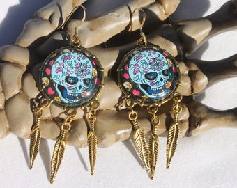 Halloween Day of the Dead Sugar Skull Dangle Drop Earrings Ant. Silver SG6  /1pair