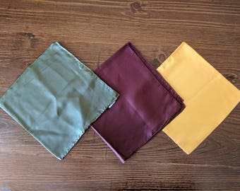 Set of 3 Silk Vintage Hand Rolled Edges Pocket Squares: Sage/Olive, Gold, Burgundy/Wine