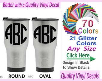 OZARK TRAILS Monogram Tumbler Vinyl Monogram Vinyl Decal - Custom vinyl decals for cups