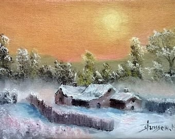 Oil on canvas landscape snow and sunset