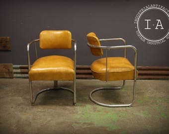Pair Antique Paidar Chrometube Barber Chair