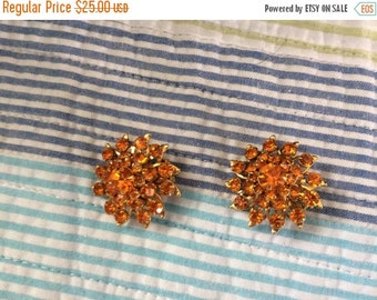 Judy Lee Orange Rhinestone Clip On Earrings
