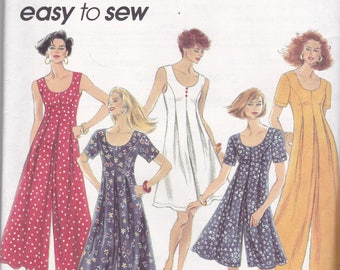 Simplicity 8235 Vintage Pattern Womens Wide legged Jumpsuit or Romper in Variations SIze 12,14,16 UNCUT