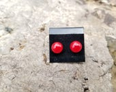 Christmas Holly Berry Studs - Red Glass Earrings