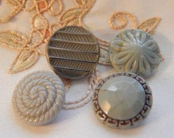 Gray Vintage Glass Buttons - 4 Different Designs